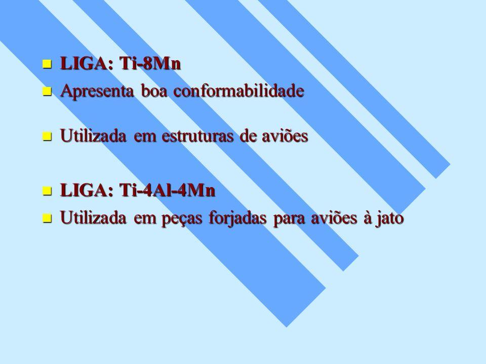 LIGA: Ti-8Mn LIGA: Ti-8Mn Apresenta boa conformabilidade Apresenta boa conformabilidade Utilizada em estruturas de aviões Utilizada em estruturas de a