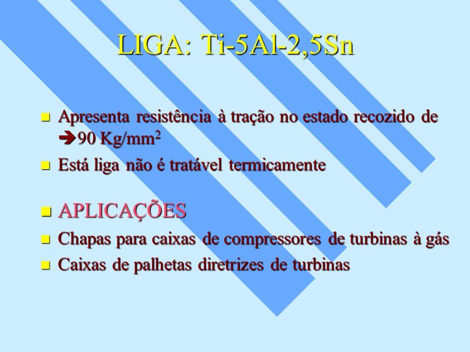 LIGA: Ti-5Al-2,5Sn Apresenta resistência à tração no estado recozido de 90 Kg/mm 2 Apresenta resistência à tração no estado recozido de 90 Kg/mm 2 Est