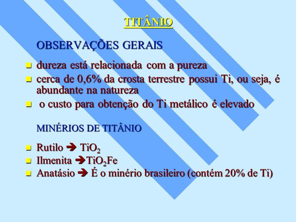 TITÂNIO OBSERVAÇÕES GERAIS dureza está relacionada com a pureza dureza está relacionada com a pureza cerca de 0,6% da crosta terrestre possui Ti, ou s