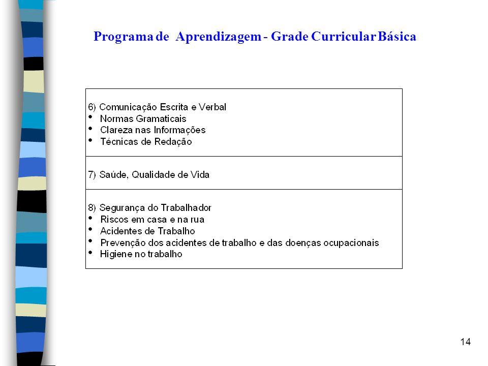 14 Programa de Aprendizagem - Grade Curricular Básica