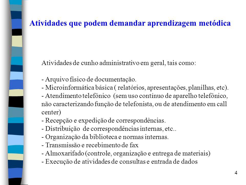 4 Atividades que podem demandar aprendizagem metódica Atividades de cunho administrativo em geral, tais como: - Arquivo físico de documentação. - Micr