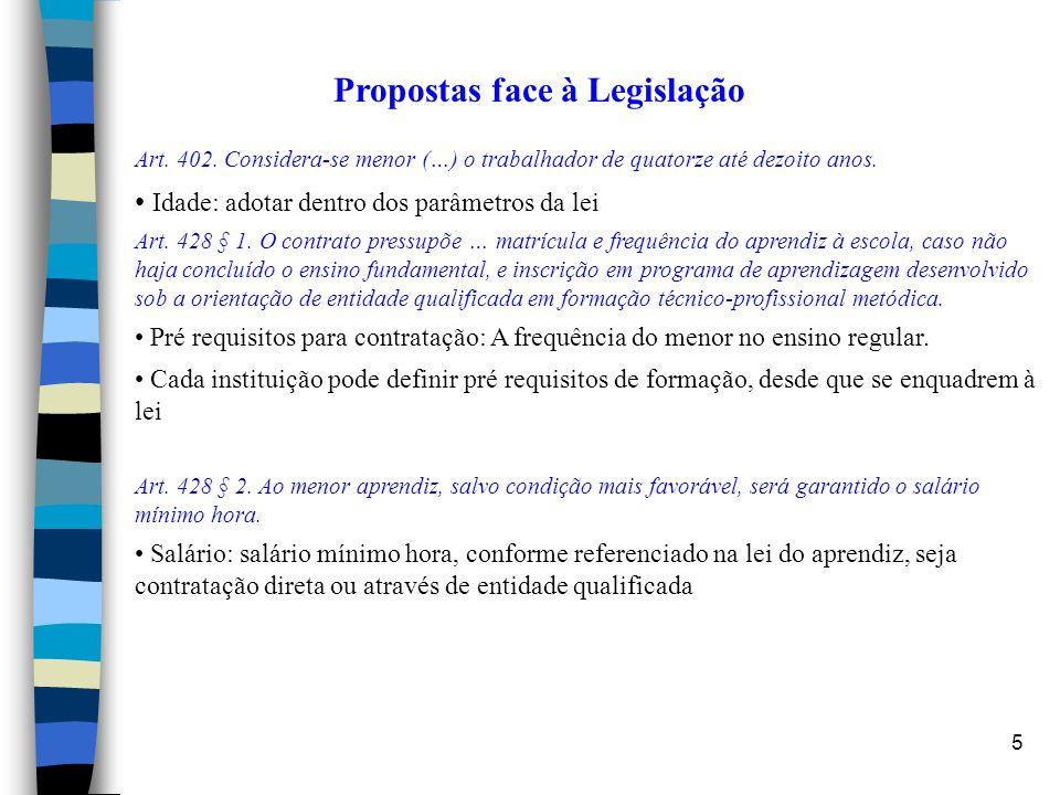 5 Propostas face à Legislação Art. 402. Considera-se menor (…) o trabalhador de quatorze até dezoito anos. Idade: adotar dentro dos parâmetros da lei