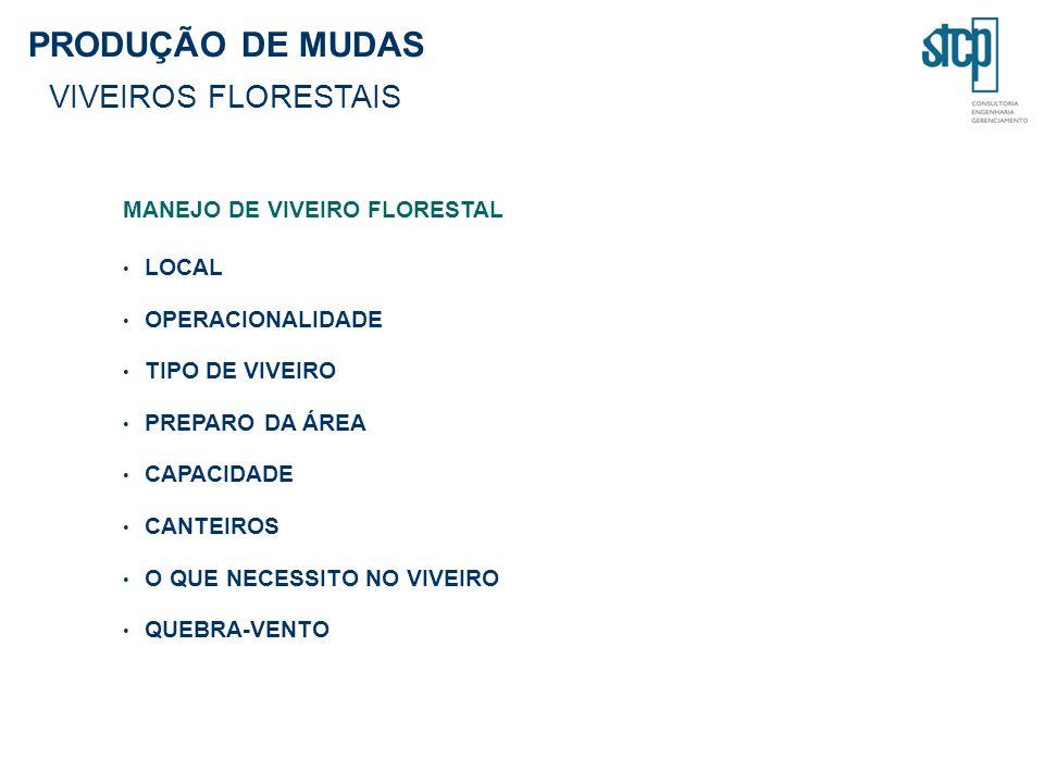 PRODUÇÃO DE MUDAS VIVEIROS FLORESTAIS MANEJO DE VIVEIRO FLORESTAL LOCAL OPERACIONALIDADE TIPO DE VIVEIRO PREPARO DA ÁREA CAPACIDADE CANTEIROS O QUE NE