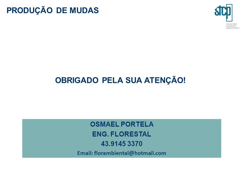 PRODUÇÃO DE MUDAS OSMAEL PORTELA ENG. FLORESTAL 43.9145 3370 Email: florambiental@hotmail.com OBRIGADO PELA SUA ATENÇÃO!