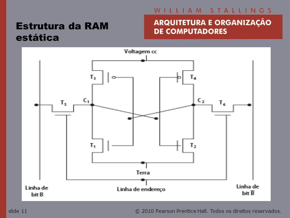 © 2010 Pearson Prentice Hall. Todos os direitos reservados.slide 11 Estrutura da RAM estática