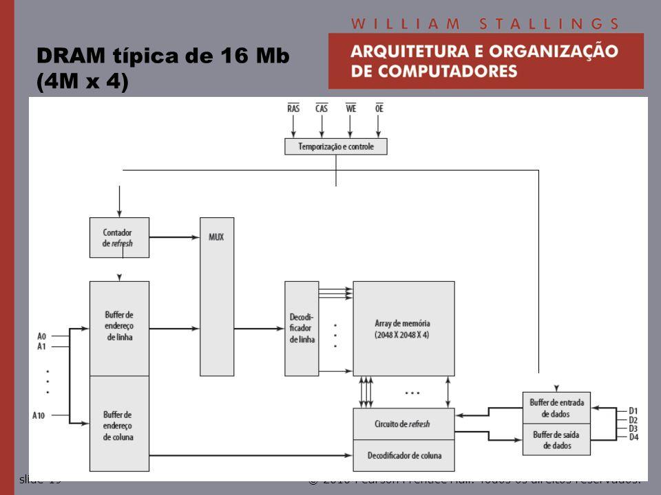 © 2010 Pearson Prentice Hall. Todos os direitos reservados.slide 19 DRAM típica de 16 Mb (4M x 4)