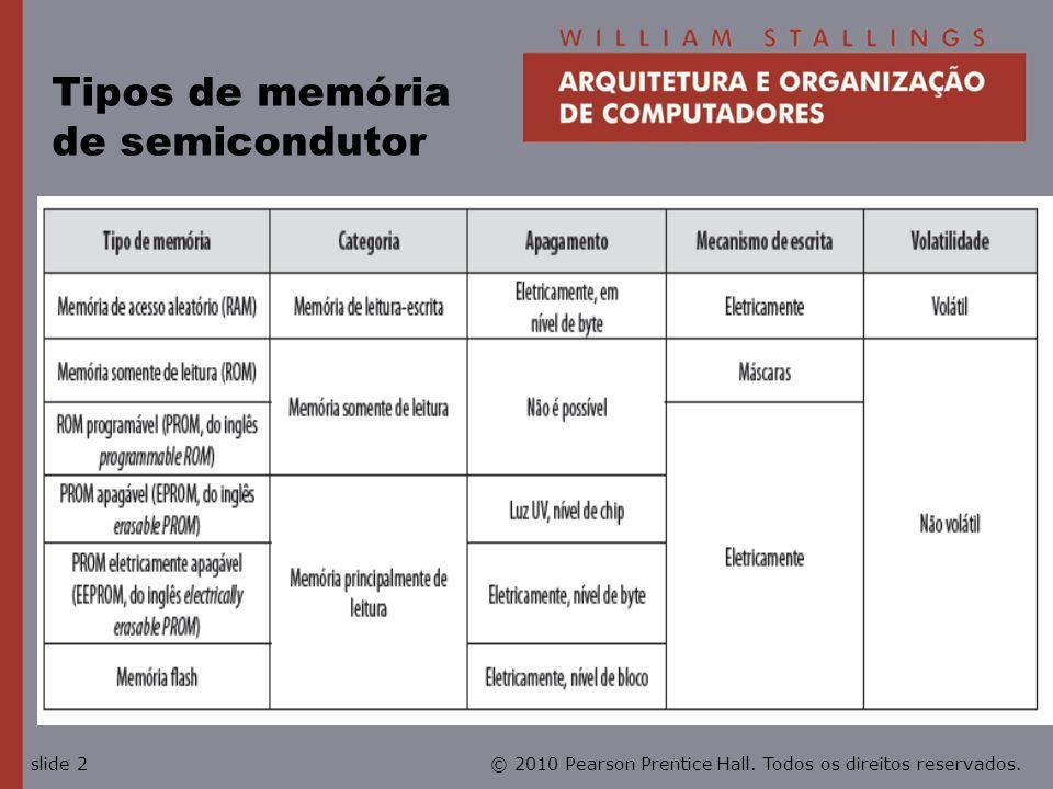 © 2010 Pearson Prentice Hall. Todos os direitos reservados.slide 2 Tipos de memória de semicondutor