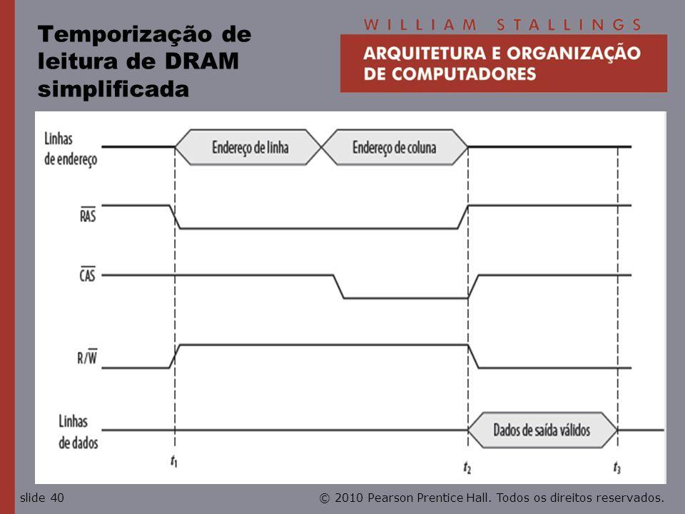 © 2010 Pearson Prentice Hall. Todos os direitos reservados.slide 40 Temporização de leitura de DRAM simplificada