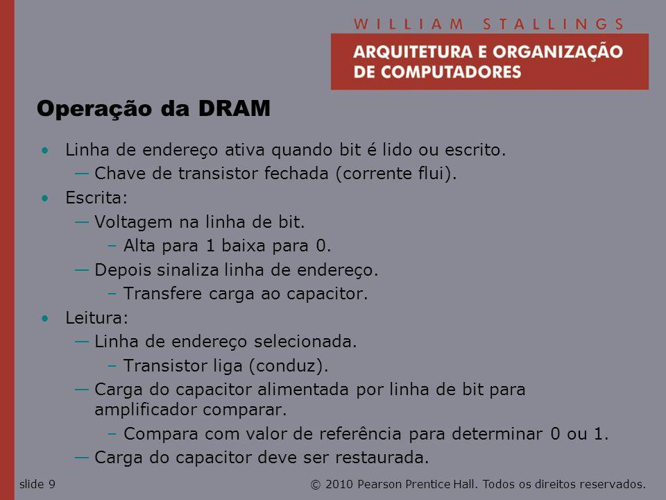 © 2010 Pearson Prentice Hall. Todos os direitos reservados.slide 9 Operação da DRAM Linha de endereço ativa quando bit é lido ou escrito. Chave de tra