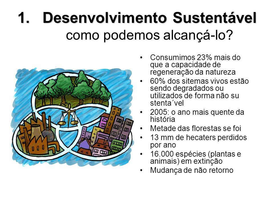 1.Desenvolvimento Sustentável 1.Desenvolvimento Sustentável como podemos alcançá-lo? Consumimos 23% mais do que a capacidade de regeneração da naturez