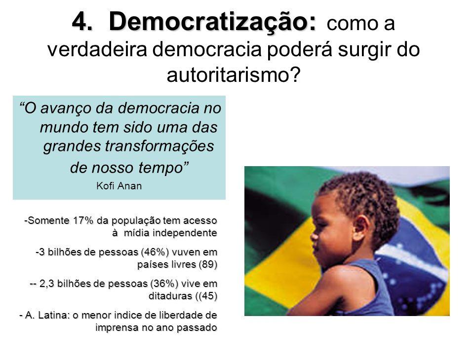 4. Democratização: 4. Democratização: como a verdadeira democracia poderá surgir do autoritarismo? O avanço da democracia no mundo tem sido uma das gr