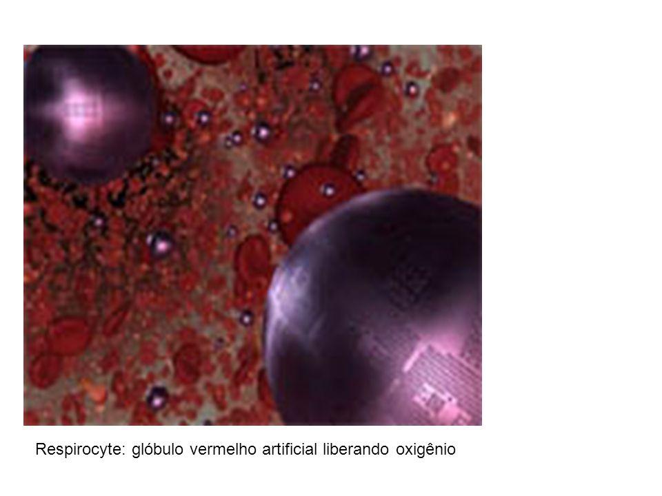 Respirocyte: glóbulo vermelho artificial liberando oxigênio