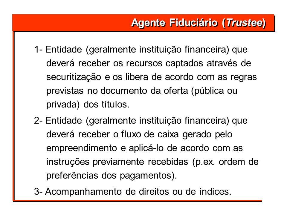 1- Entidade (geralmente instituição financeira) que deverá receber os recursos captados através de securitização e os libera de acordo com as regras p