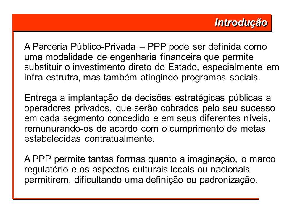 Introdução A Parceria Público-Privada – PPP pode ser definida como uma modalidade de engenharia financeira que permite substituir o investimento diret