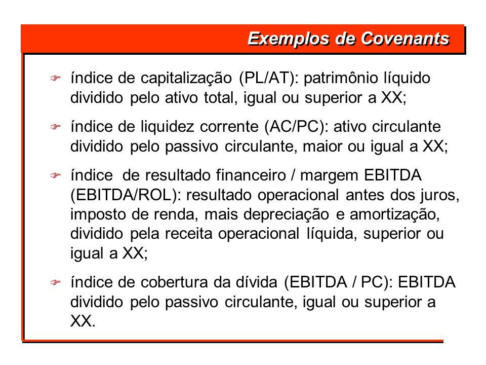 F índice de capitalização (PL/AT): patrimônio líquido dividido pelo ativo total, igual ou superior a XX; F índice de liquidez corrente (AC/PC): ativo