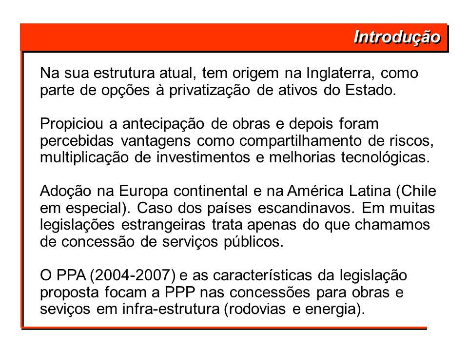 Introdução Prioridade para infra-estrutura: Mudança de Política de Governo em 2003, com Prioridade para infra-estrutura: F F Reconhecimento da necessidade de novos projetos, modernizações e mesmo retomada de obras paradas (estrangulamento da economia); F F Proclamação da integração sul-americana como prioridade, com investimentos brasileiros além fronteiras (marco regulatório múltiplo); F F Reconhecimento da incapacidade de o setor público investir sozinho, exigindo alguma forma de parceria com o setor privado.
