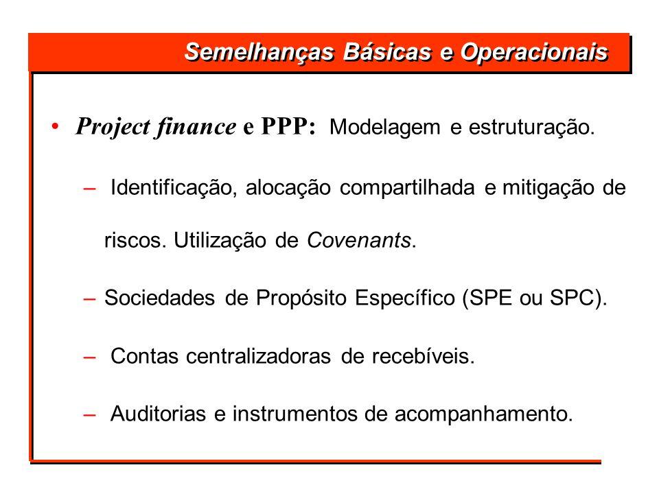 Semelhanças Básicas e Operacionais Project finance e PPP: Modelagem e estruturação. – Identificação, alocação compartilhada e mitigação de riscos. Uti