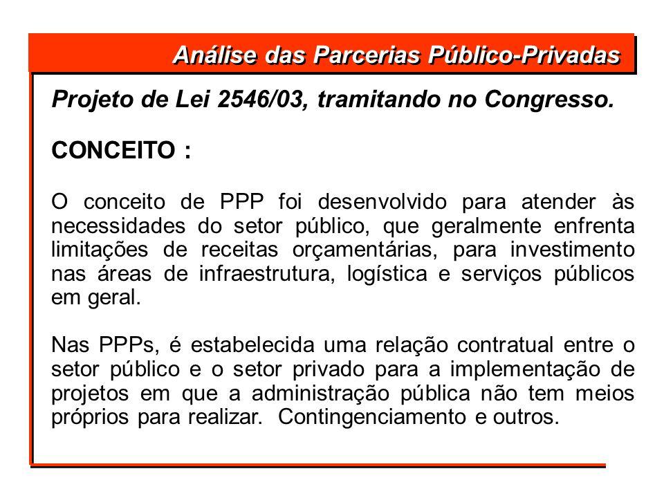 Projeto de Lei 2546/03, tramitando no Congresso. CONCEITO : O conceito de PPP foi desenvolvido para atender às necessidades do setor público, que gera
