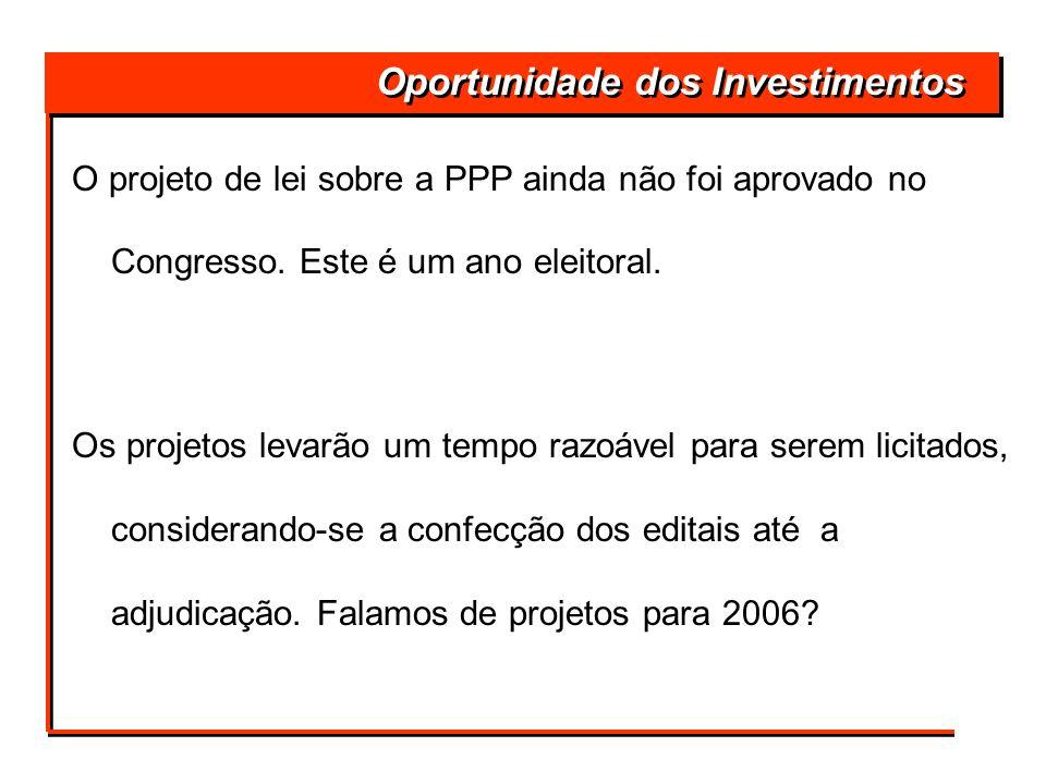 Oportunidade dos Investimentos O projeto de lei sobre a PPP ainda não foi aprovado no Congresso. Este é um ano eleitoral. Os projetos levarão um tempo