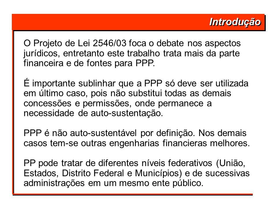 Introdução O Projeto de Lei 2546/03 foca o debate nos aspectos jurídicos, entretanto este trabalho trata mais da parte financeira e de fontes para PPP