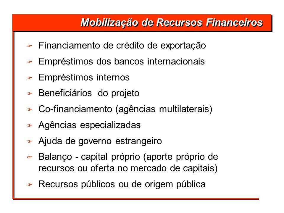 Mobilização de Recursos Financeiros F F Financiamento de crédito de exportação F F Empréstimos dos bancos internacionais F F Empréstimos internos F F
