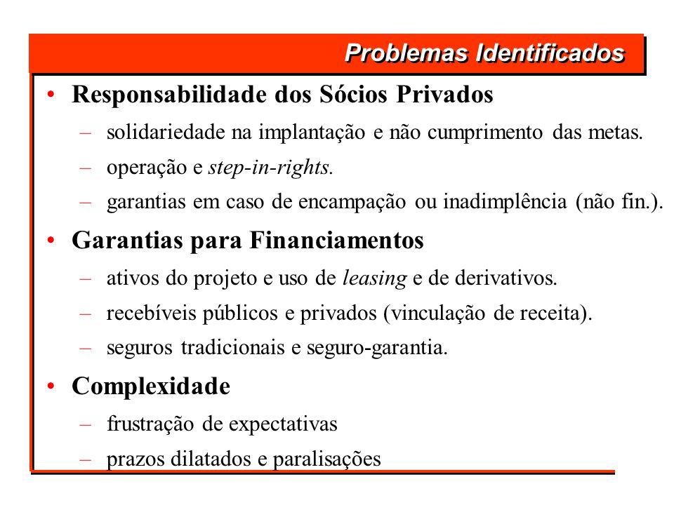 Problemas Identificados Responsabilidade dos Sócios Privados – solidariedade na implantação e não cumprimento das metas. – operação e step-in-rights.