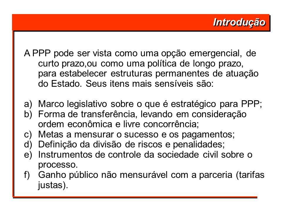 Introdução A PPP pode ser vista como uma opção emergencial, de curto prazo,ou como uma política de longo prazo, para estabelecer estruturas permanente