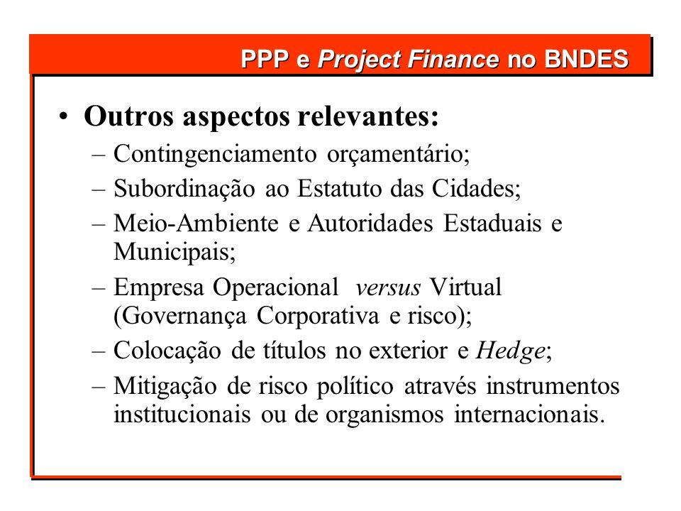 Outros aspectos relevantes: –Contingenciamento orçamentário; –Subordinação ao Estatuto das Cidades; –Meio-Ambiente e Autoridades Estaduais e Municipai
