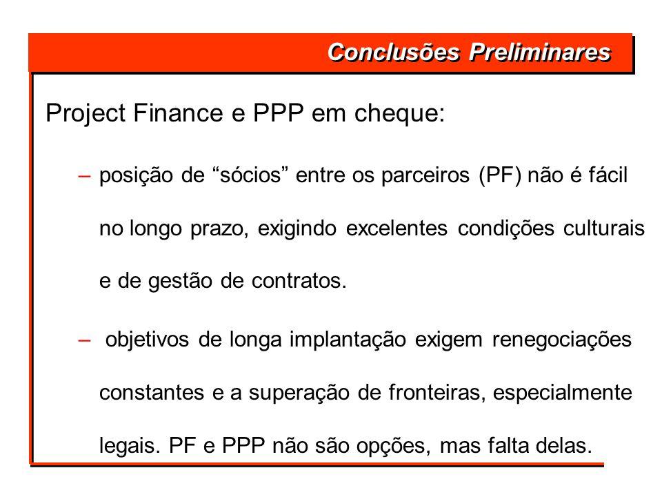 Conclusões Preliminares Project Finance e PPP em cheque: –posição de sócios entre os parceiros (PF) não é fácil no longo prazo, exigindo excelentes co