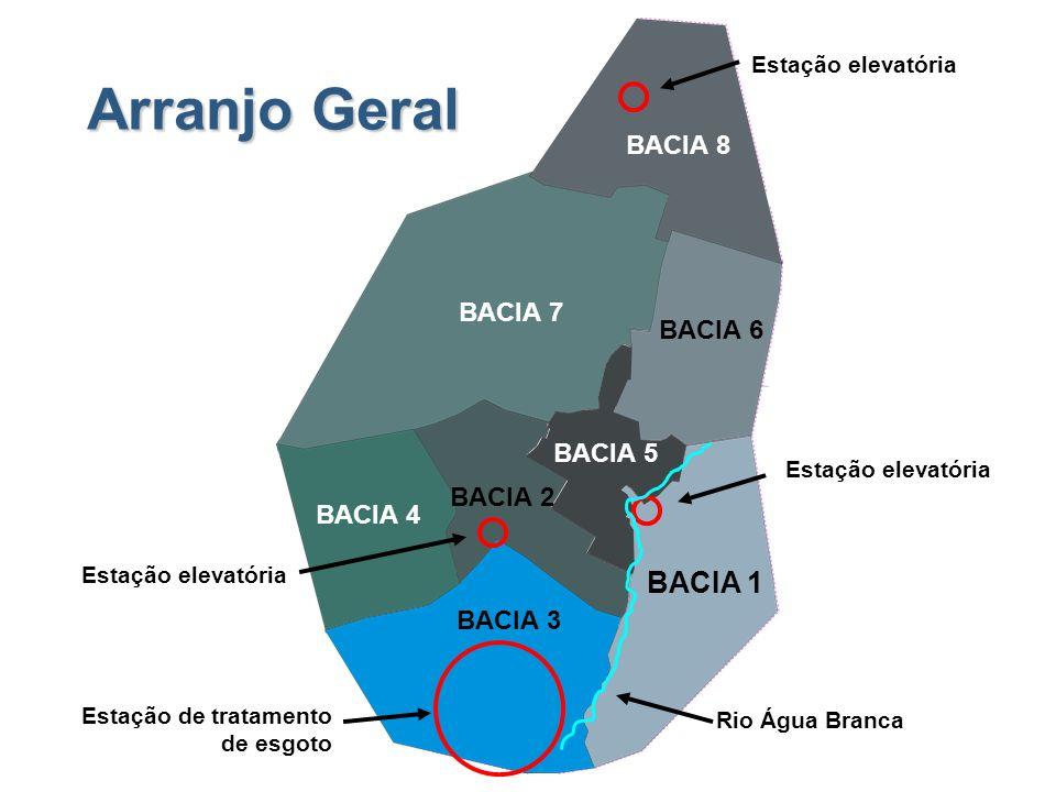 Arranjo Geral Rio Água Branca Estação elevatória Estação de tratamento de esgoto BACIA 1 BACIA 3 BACIA 4 BACIA 2 BACIA 5 BACIA 6 BACIA 7 BACIA 8
