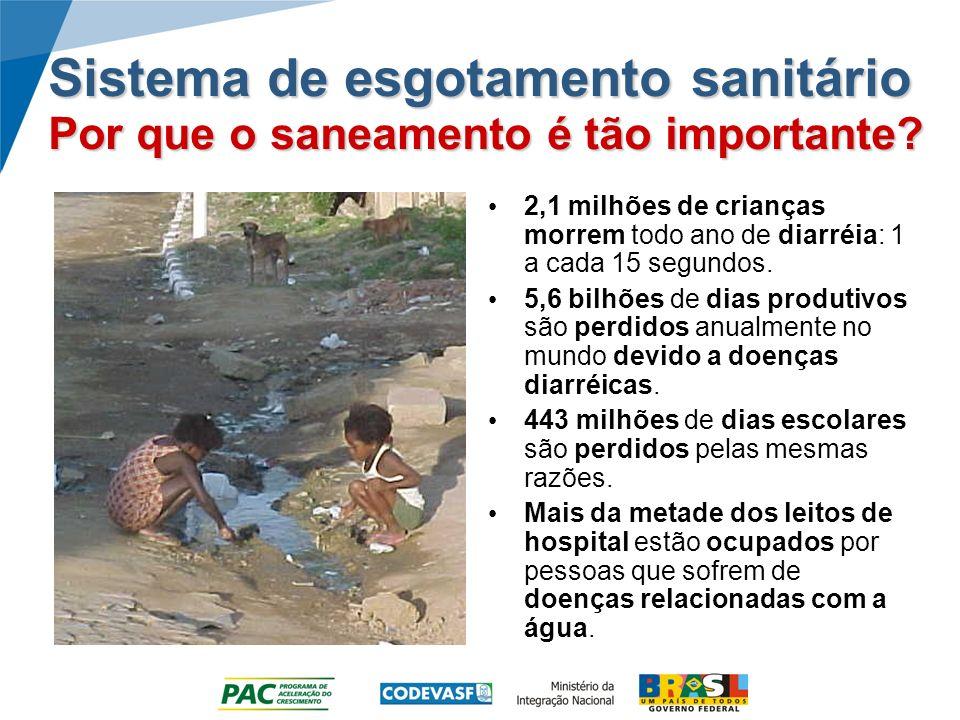 Sistema de esgotamento sanitário Por que o saneamento é tão importante? 2,1 milhões de crianças morrem todo ano de diarréia: 1 a cada 15 segundos. 5,6