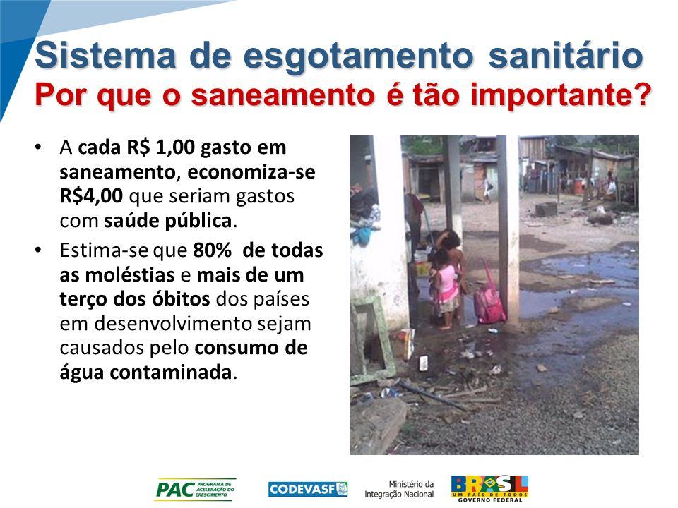 Sistema de esgotamento sanitário Por que o saneamento é tão importante? A cada R$ 1,00 gasto em saneamento, economiza-se R$4,00 que seriam gastos com