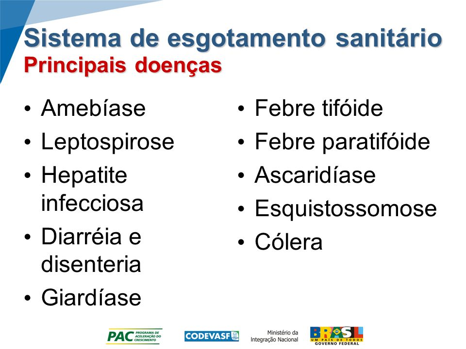 Sistema de esgotamento sanitário Principais doenças Amebíase Leptospirose Hepatite infecciosa Diarréia e disenteria Giardíase Febre tifóide Febre paratifóide Ascaridíase Esquistossomose Cólera