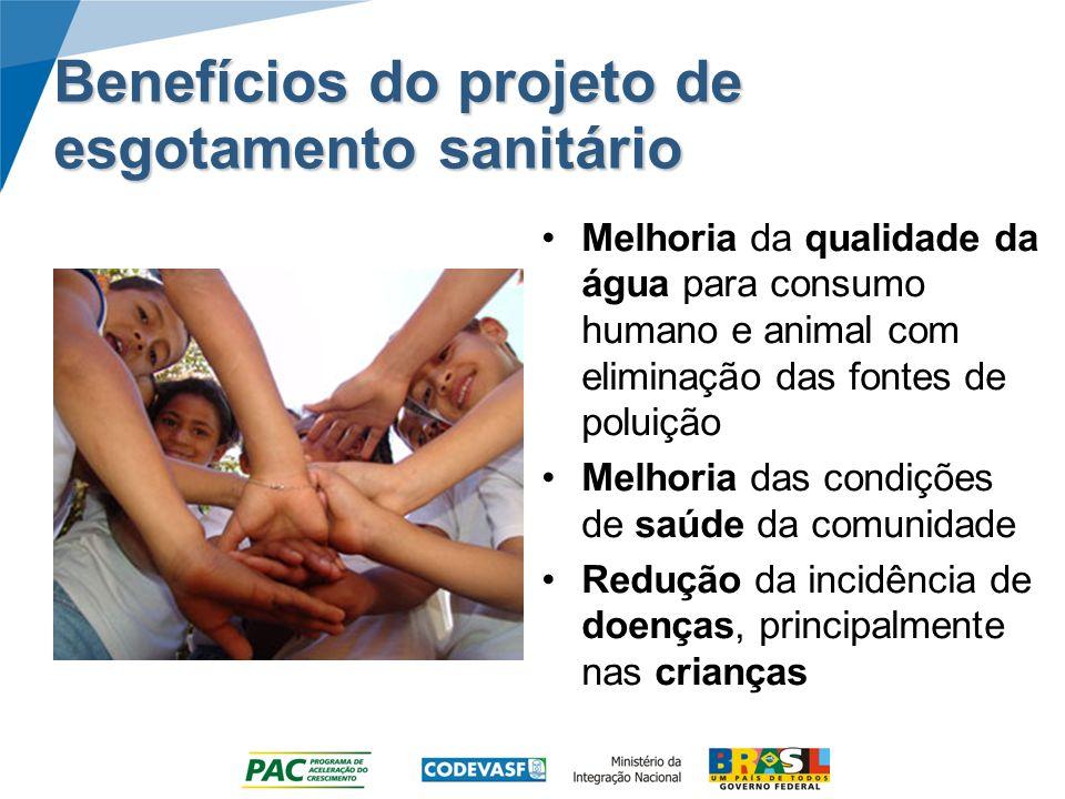 Benefícios do projeto de esgotamento sanitário Melhoria da qualidade da água para consumo humano e animal com eliminação das fontes de poluição Melhor