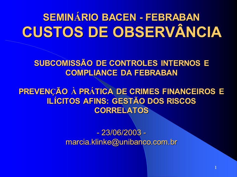 1 SEMIN Á RIO BACEN - FEBRABAN CUSTOS DE OBSERVÂNCIA SUBCOMISSÃO DE CONTROLES INTERNOS E COMPLIANCE DA FEBRABAN PREVEN Ç ÃO À PR Á TICA DE CRIMES FINA