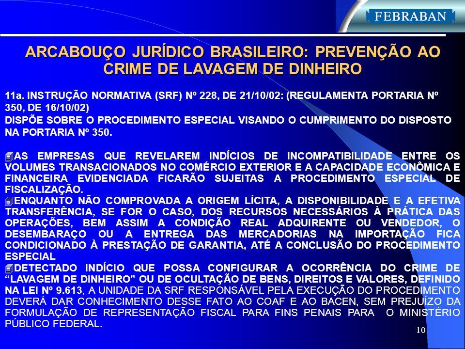 10 ARCABOUÇO JURÍDICO BRASILEIRO: PREVENÇÃO AO CRIME DE LAVAGEM DE DINHEIRO 11a. INSTRUÇÃO NORMATIVA (SRF) Nº 228, DE 21/10/02: (REGULAMENTA PORTARIA