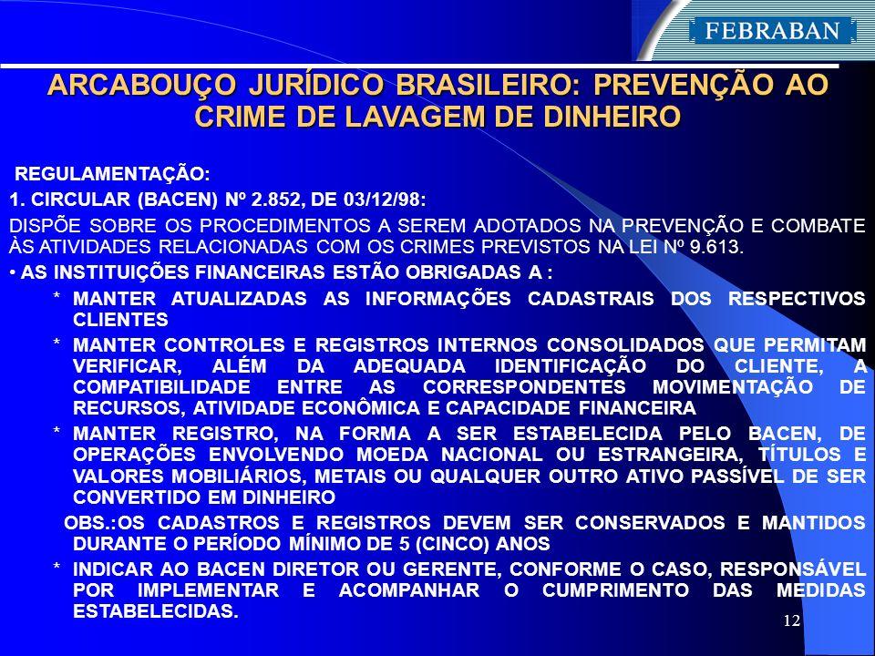 12 ARCABOUÇO JURÍDICO BRASILEIRO: PREVENÇÃO AO CRIME DE LAVAGEM DE DINHEIRO REGULAMENTAÇÃO: 1. CIRCULAR (BACEN) Nº 2.852, DE 03/12/98: DISPÕE SOBRE OS