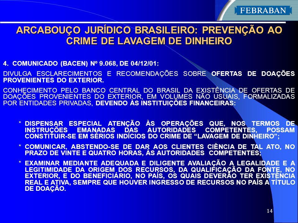 14 ARCABOUÇO JURÍDICO BRASILEIRO: PREVENÇÃO AO CRIME DE LAVAGEM DE DINHEIRO 4. COMUNICADO (BACEN) Nº 9.068, DE 04/12/01: DIVULGA ESCLARECIMENTOS E REC