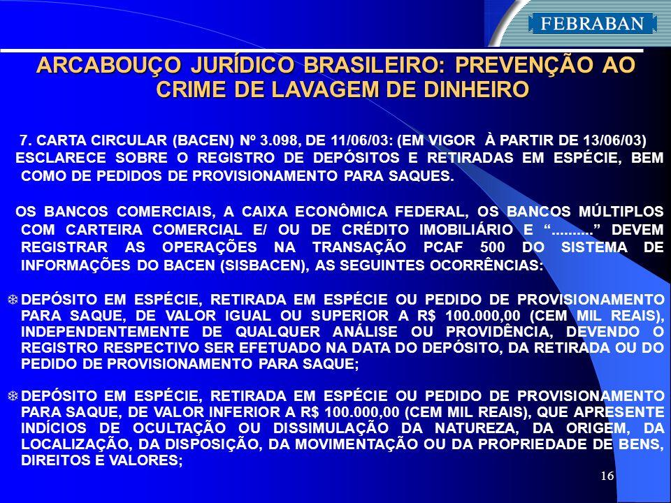 16 ARCABOUÇO JURÍDICO BRASILEIRO: PREVENÇÃO AO CRIME DE LAVAGEM DE DINHEIRO 7. CARTA CIRCULAR (BACEN) Nº 3.098, DE 11/06/03: (EM VIGOR À PARTIR DE 13/