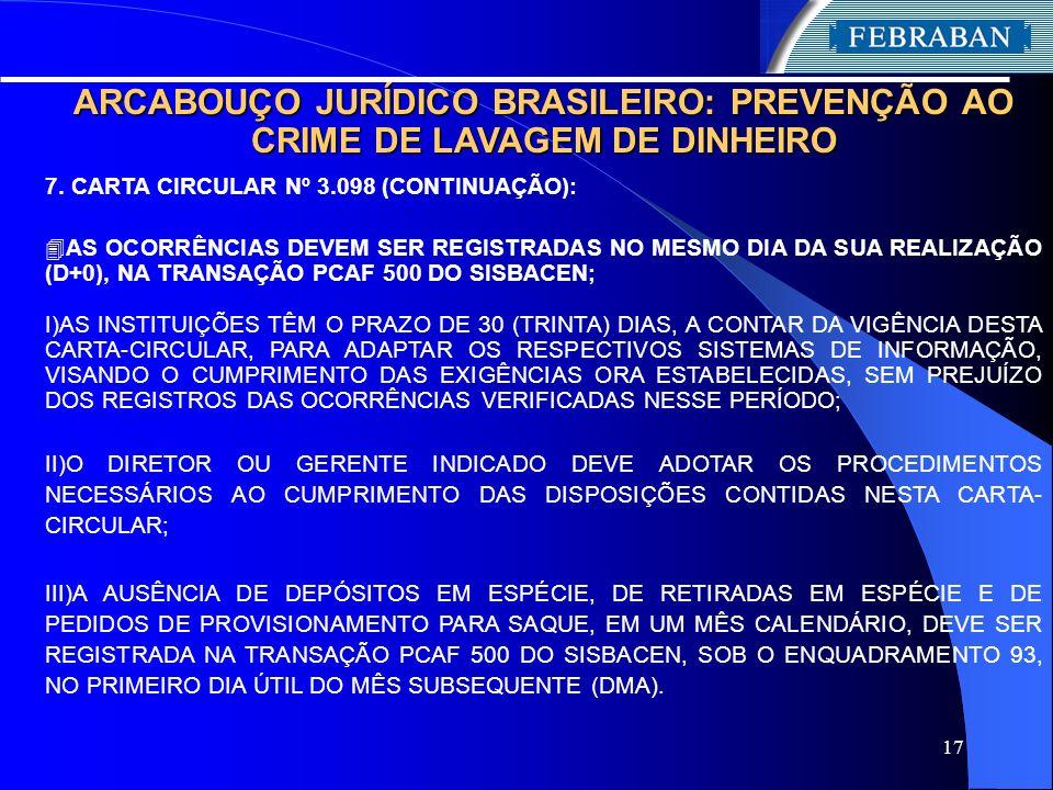 17 ARCABOUÇO JURÍDICO BRASILEIRO: PREVENÇÃO AO CRIME DE LAVAGEM DE DINHEIRO 7. CARTA CIRCULAR Nº 3.098 (CONTINUAÇÃO): 4 AS OCORRÊNCIAS DEVEM SER REGIS