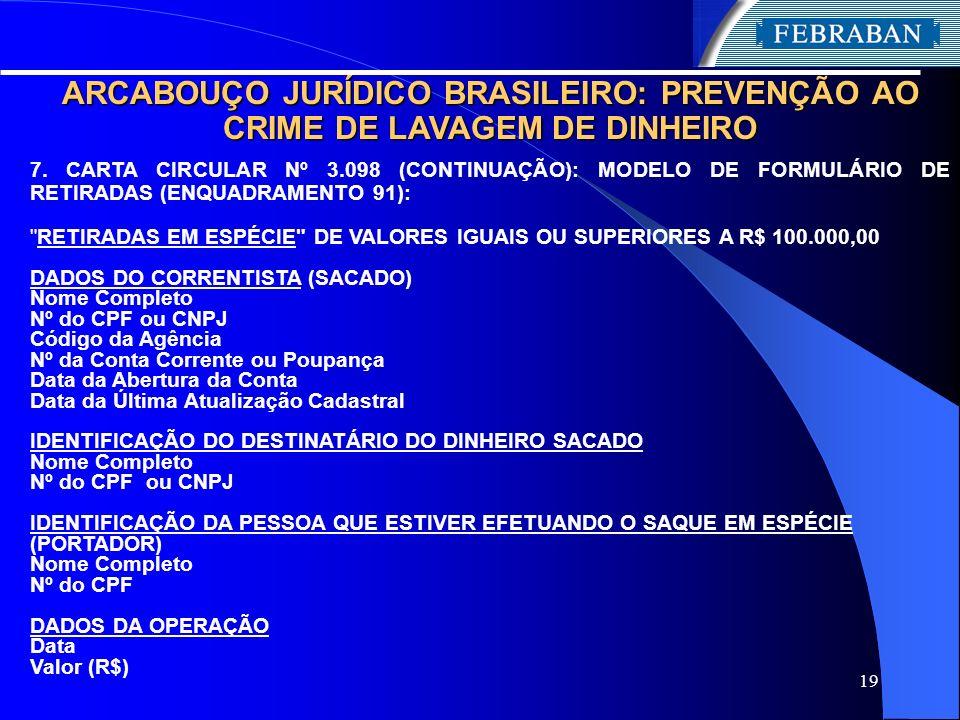19 ARCABOUÇO JURÍDICO BRASILEIRO: PREVENÇÃO AO CRIME DE LAVAGEM DE DINHEIRO 7. CARTA CIRCULAR Nº 3.098 (CONTINUAÇÃO): MODELO DE FORMULÁRIO DE RETIRADA