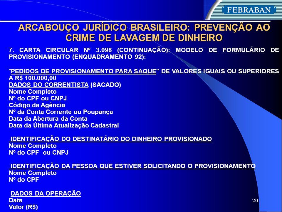 20 ARCABOUÇO JURÍDICO BRASILEIRO: PREVENÇÃO AO CRIME DE LAVAGEM DE DINHEIRO 7. CARTA CIRCULAR Nº 3.098 (CONTINUAÇÃO): MODELO DE FORMULÁRIO DE PROVISIO