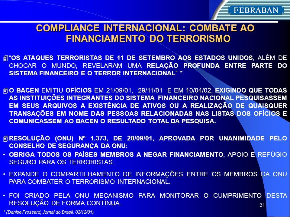 21 COMPLIANCE INTERNACIONAL: COMBATE AO FINANCIAMENTO DO TERRORISMO 4OS ATAQUES TERRORISTAS DE 11 DE SETEMBRO AOS ESTADOS UNIDOS, ALÉM DE CHOCAR O MUN