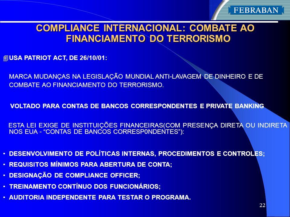 22 COMPLIANCE INTERNACIONAL: COMBATE AO FINANCIAMENTO DO TERRORISMO 4 USA PATRIOT ACT, DE 26/10/01: MARCA MUDANÇAS NA LEGISLAÇÃO MUNDIAL ANTI-LAVAGEM