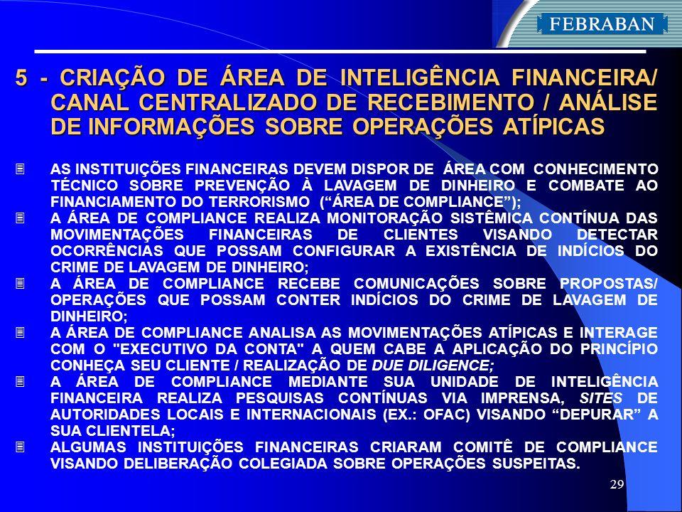 29 5 - CRIAÇÃO DE ÁREA DE INTELIGÊNCIA FINANCEIRA/ CANAL CENTRALIZADO DE RECEBIMENTO / ANÁLISE DE INFORMAÇÕES SOBRE OPERAÇÕES ATÍPICAS 3 AS INSTITUIÇÕ