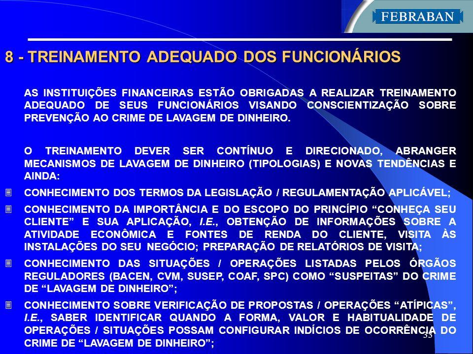 33 8 - TREINAMENTO ADEQUADO DOS FUNCIONÁRIOS AS INSTITUIÇÕES FINANCEIRAS ESTÃO OBRIGADAS A REALIZAR TREINAMENTO ADEQUADO DE SEUS FUNCIONÁRIOS VISANDO