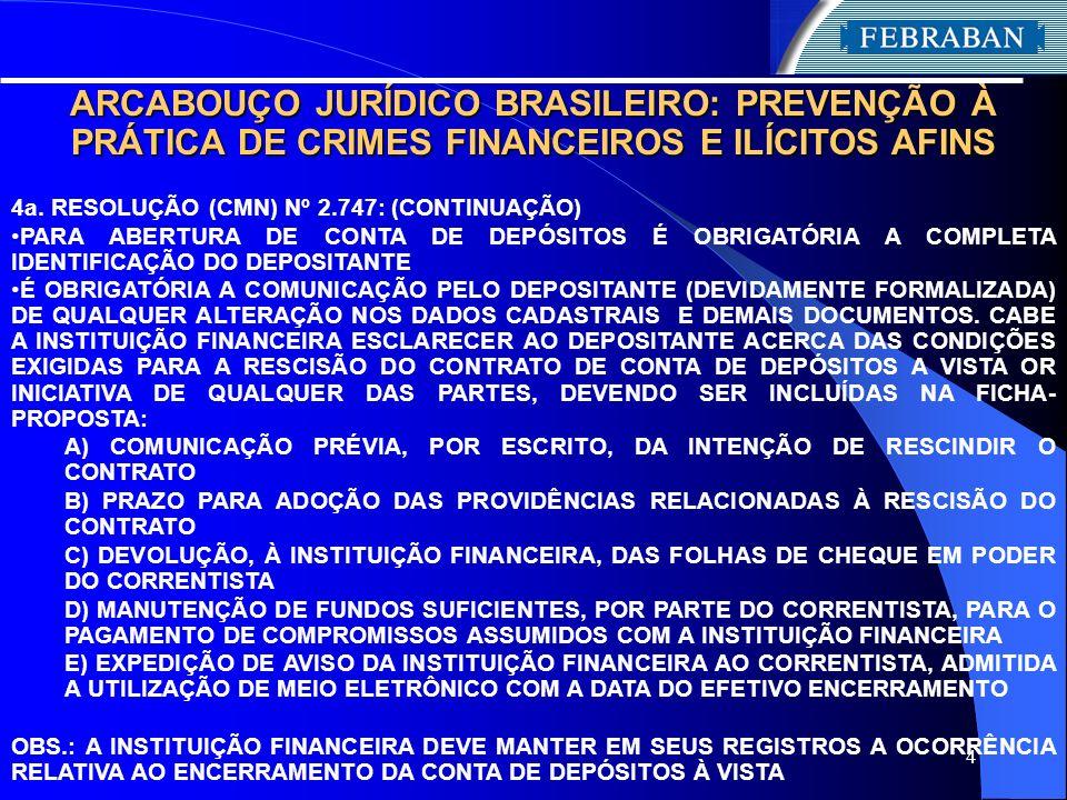 4 ARCABOUÇO JURÍDICO BRASILEIRO: PREVENÇÃO À PRÁTICA DE CRIMES FINANCEIROS E ILÍCITOS AFINS 4a. RESOLUÇÃO (CMN) Nº 2.747: (CONTINUAÇÃO) PARA ABERTURA