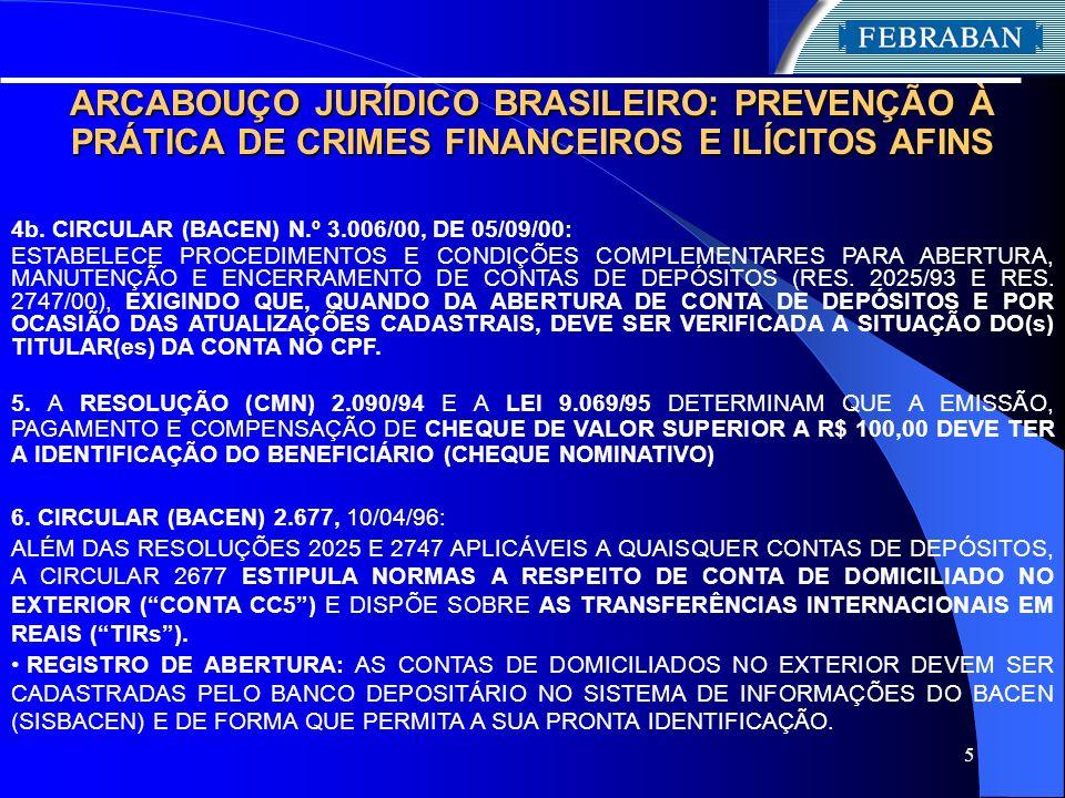 5 ARCABOUÇO JURÍDICO BRASILEIRO: PREVENÇÃO À PRÁTICA DE CRIMES FINANCEIROS E ILÍCITOS AFINS 4b. CIRCULAR (BACEN) N.º 3.006/00, DE 05/09/00: ESTABELECE