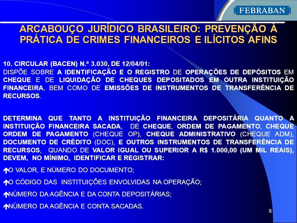 8 ARCABOUÇO JURÍDICO BRASILEIRO: PREVENÇÃO À PRÁTICA DE CRIMES FINANCEIROS E ILÍCITOS AFINS 10. CIRCULAR (BACEN) N.º 3.030, DE 12/04/01: DISPÕE SOBRE