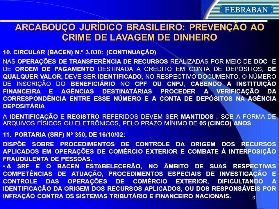 9 ARCABOUÇO JURÍDICO BRASILEIRO: PREVENÇÃO AO CRIME DE LAVAGEM DE DINHEIRO 10. CIRCULAR (BACEN) N.º 3.030: (CONTINUAÇÃO) NAS OPERAÇÕES DE TRANSFERÊNCI